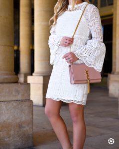 White-bell-sleeve-dress, white-lace-dress, pink-handbag, ysl-tassel-handbag, ssl-handbag
