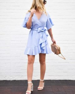 Blue-wrap-dress, nordstrom-topshop-dress, chanel-handbag, white-heeled-sandals
