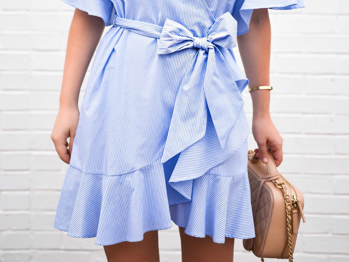 Blue-wrap-dress, nordstrom-topshop-dress, chanel-handbag, white-heeled-sandals, stuart-weitzman-pearl-sandals, chanel-vanity-case