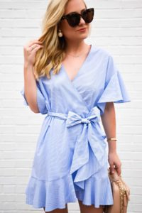 Blue-wrap-dress, nordstrom-topshop-dress, chanel-handbag, white-heeled-sandals, stuart-weitzman-pearl-sandals, chanel-vanity-case