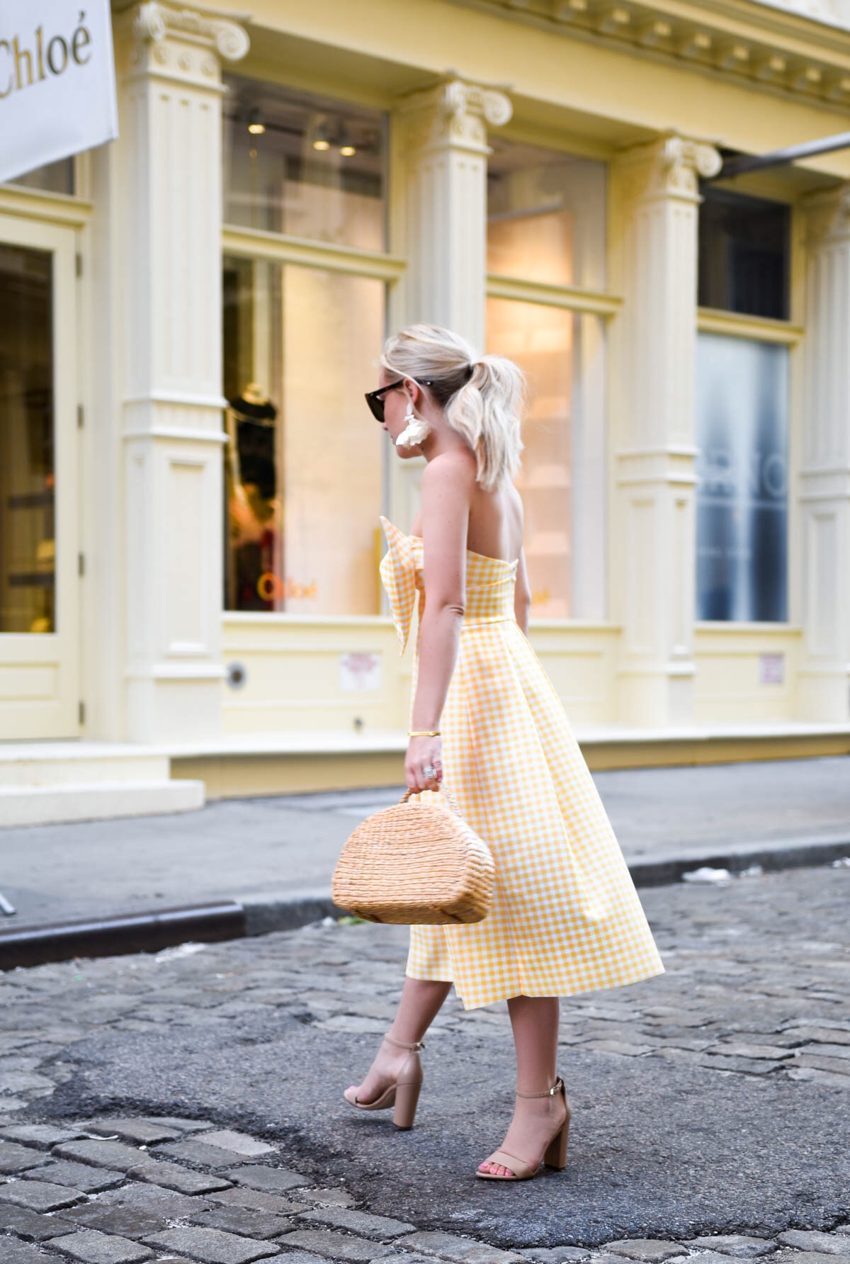 Yellow-Gingham-Dress, Yellow-Bow-Dress, basket-bag, nicola-bathie-earrings