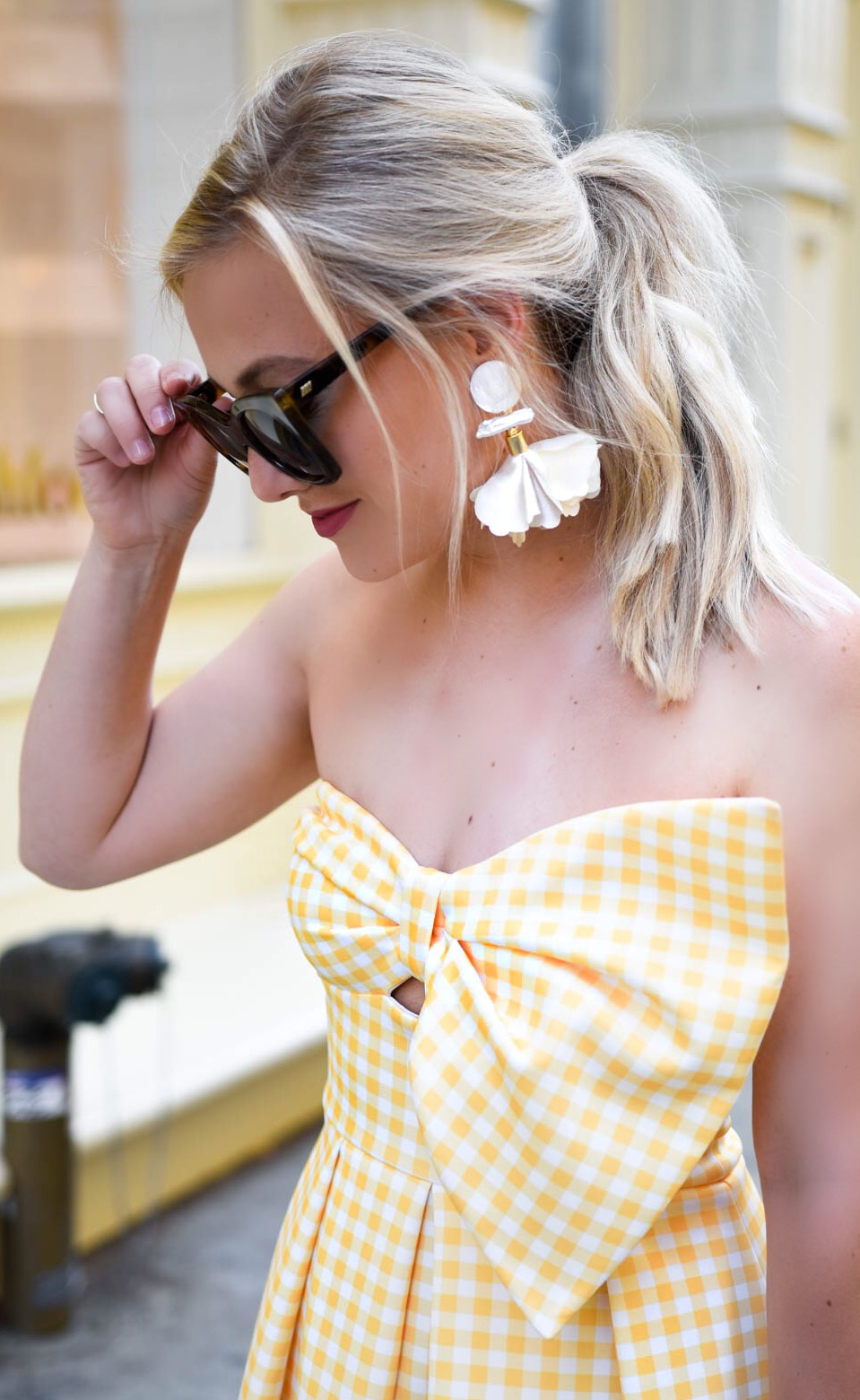 Yellow-Gingham-Dress, Yellow-Bow-Dress, basket-bag, nicola-bathie-earrings