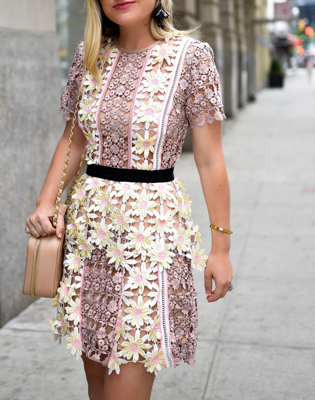 Floral-Lace-Dress, Self-Portrait-3D-Floral-Lace-Peplum-Dress, Chanel-Handbag, Lo-Murphy