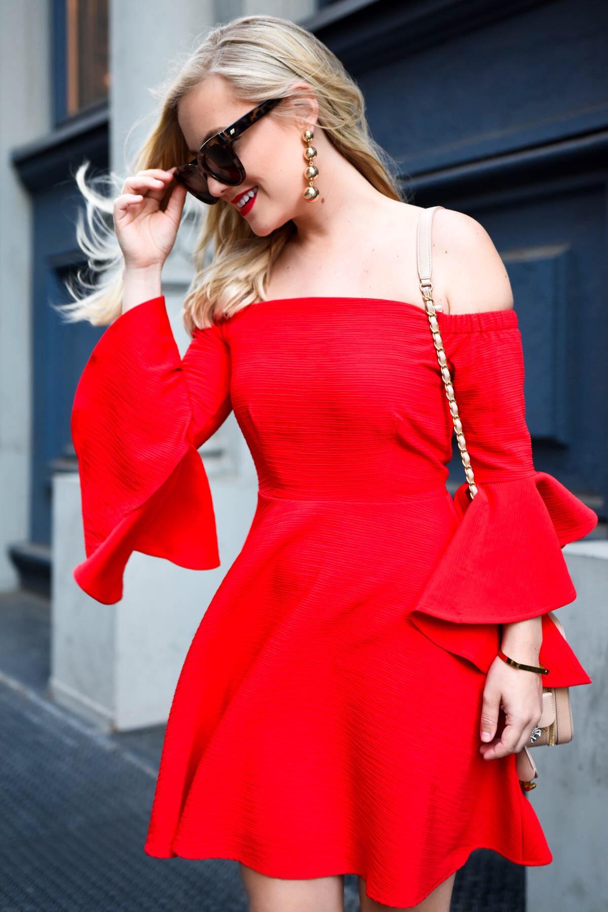 Red off the shoulder dress, red ruffle dress, red dress under $100, chanel handbag, alexandre birman shoes, lomurphy, dallas blogger, travel blogger, street style, date night dress