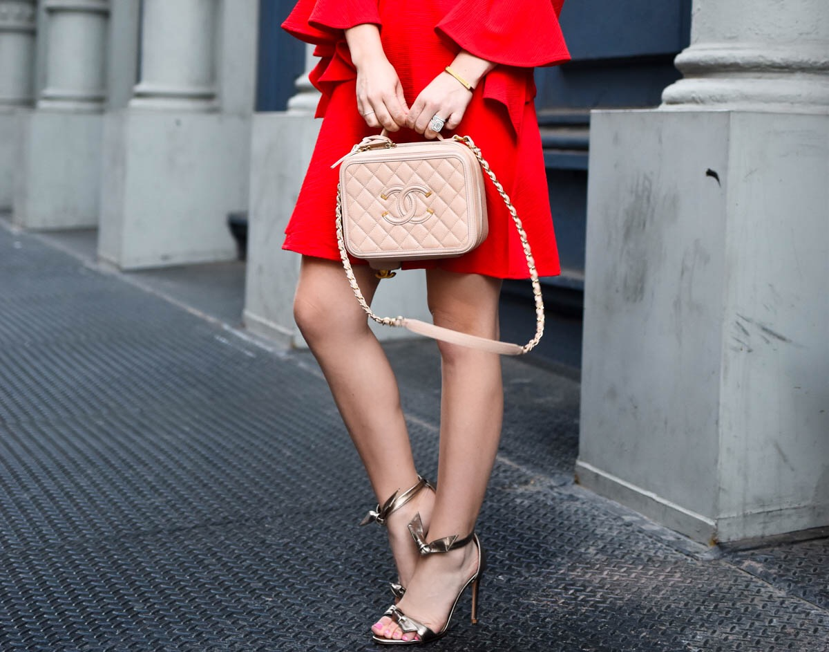 Red off the shoulder dress, red ruffle dress, red dress under $100, chanel handbag, alexandre birman shoes, lomurphy, dallas blogger, travel blogger, street style, date night dress