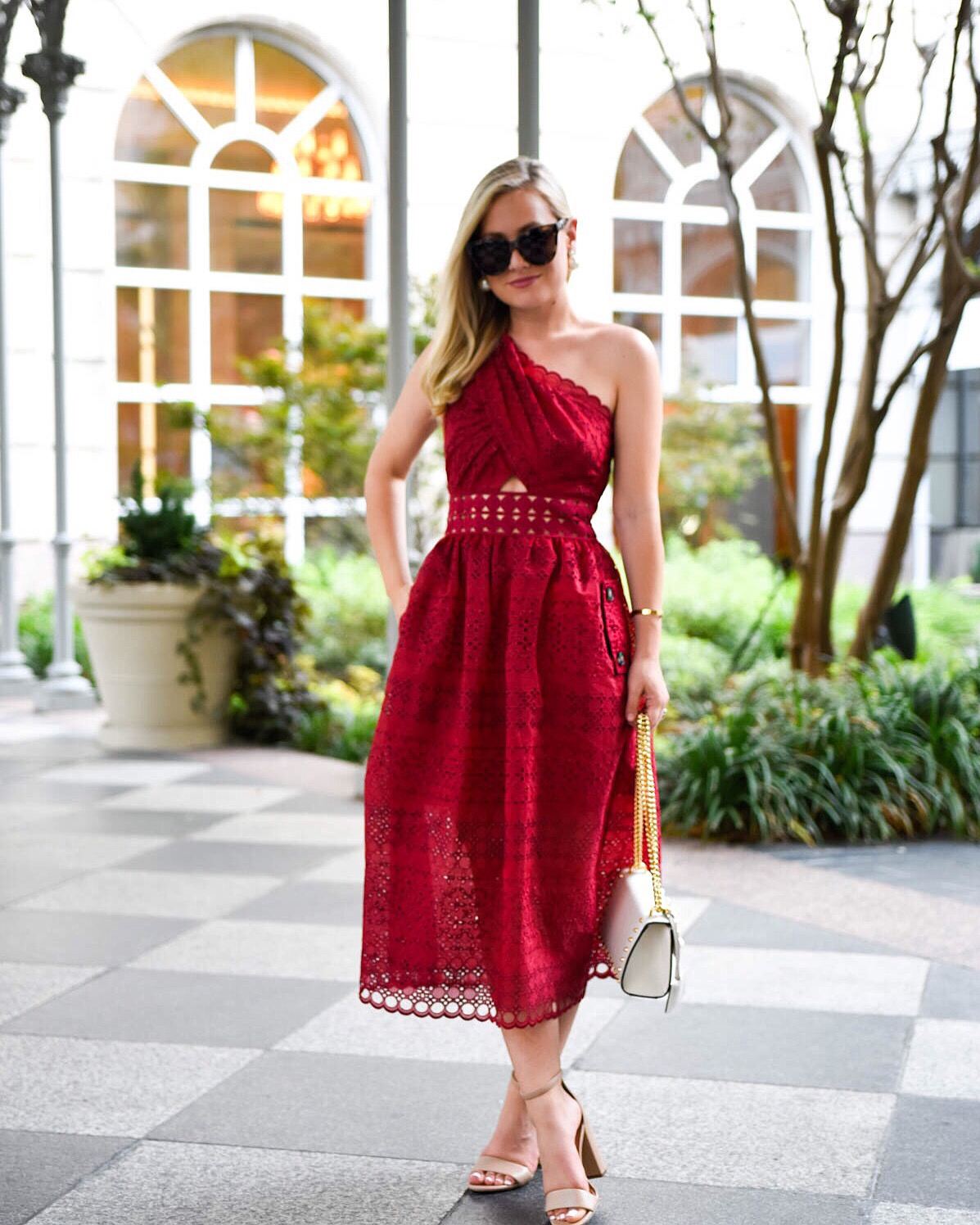 red dress, lace midi dress, self portrait dress, nordstrom dress, gucci padlock bag, sam edelman heels