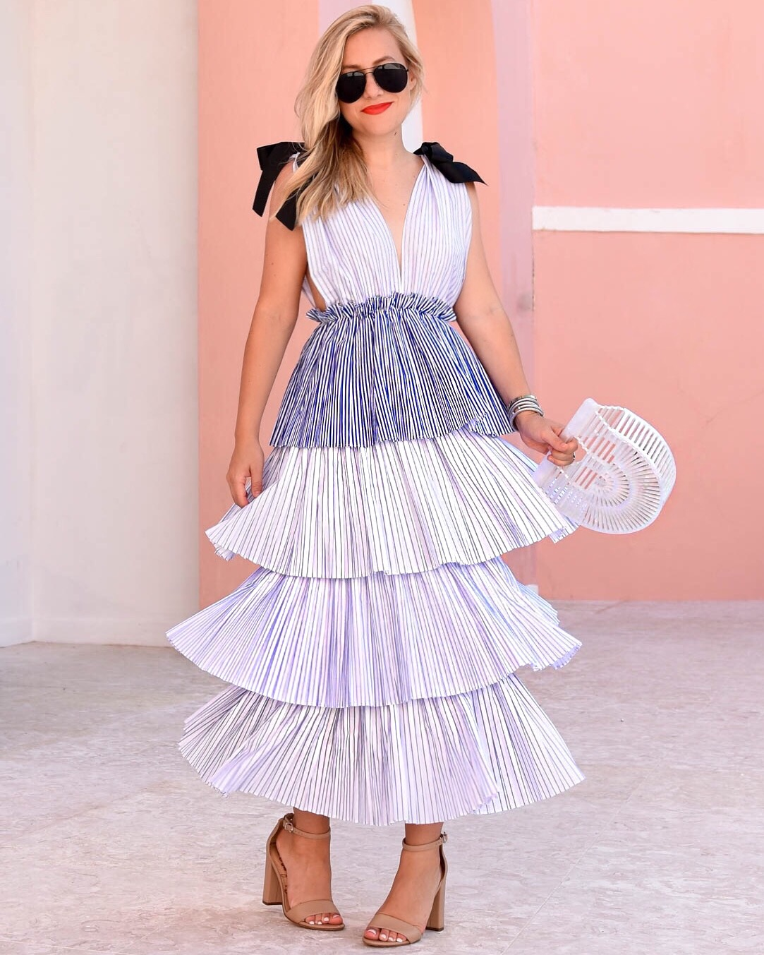 Blue Tiered Dress, Blue Ruffle Dress, Blue and white stripe dress, cult gaia arc bag, bermuda, ray ban sunglasses