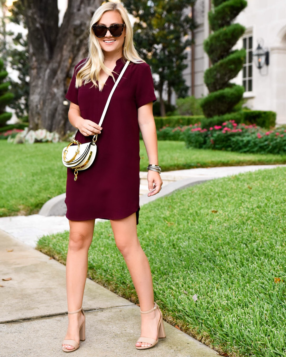 Nordstrom Dress, Leith Dress, Deep Red Fall Dress, Chloe Nile Handbag, Fall Outfit Inspiration, Easy Fall Dress, Dress under $50 for fall