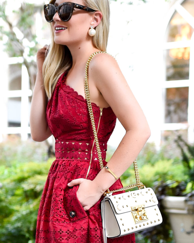 gucci pearl padlock bag, self portrait cut-out one shoulder midi dress, red dress, lace midi dress, self portrait dress, nordstrom dress, gucci padlock bag, sam edelman heels