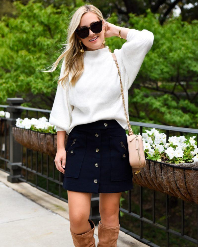 Veronica beard skirt, line & dot sweater, chanel Handbag, white sweater, mock neck sweater, navy skirt, navy button front skirt, fall outfit inspo, fall outfit