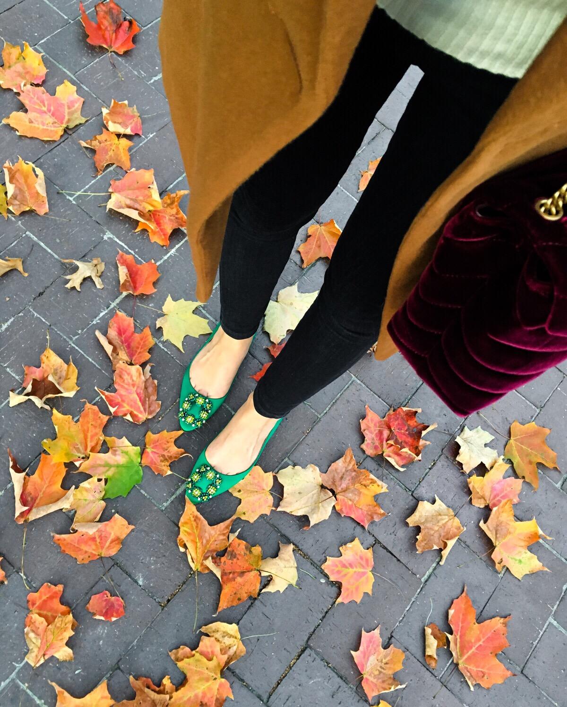 Manolo Blahnik flats, Green flats, Manolo Blahnik Hangisi Crystal-Buckle Satin Flats, fall style, fall flats, nordstrom shoes, nordstrom flats, neiman marcus, neiman marcus flats