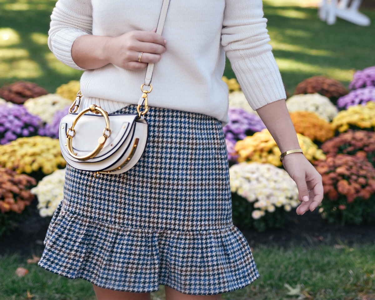 Plaid skirt, J. Crew Skirt, Nordstrom Skirt, white seater, over the knee boots, camel boots, vermont, fall outfit, fall style