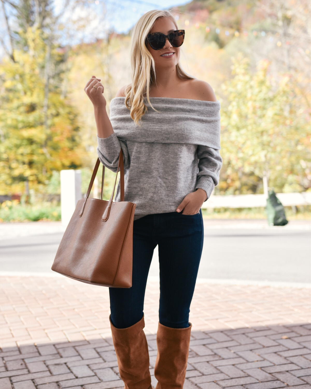 Grey off the shoulder sweater, over the knee boots, fall outfit, fall style, fall outfit inspiration, camel tote bag, le specs sunglasses, grey sweater
