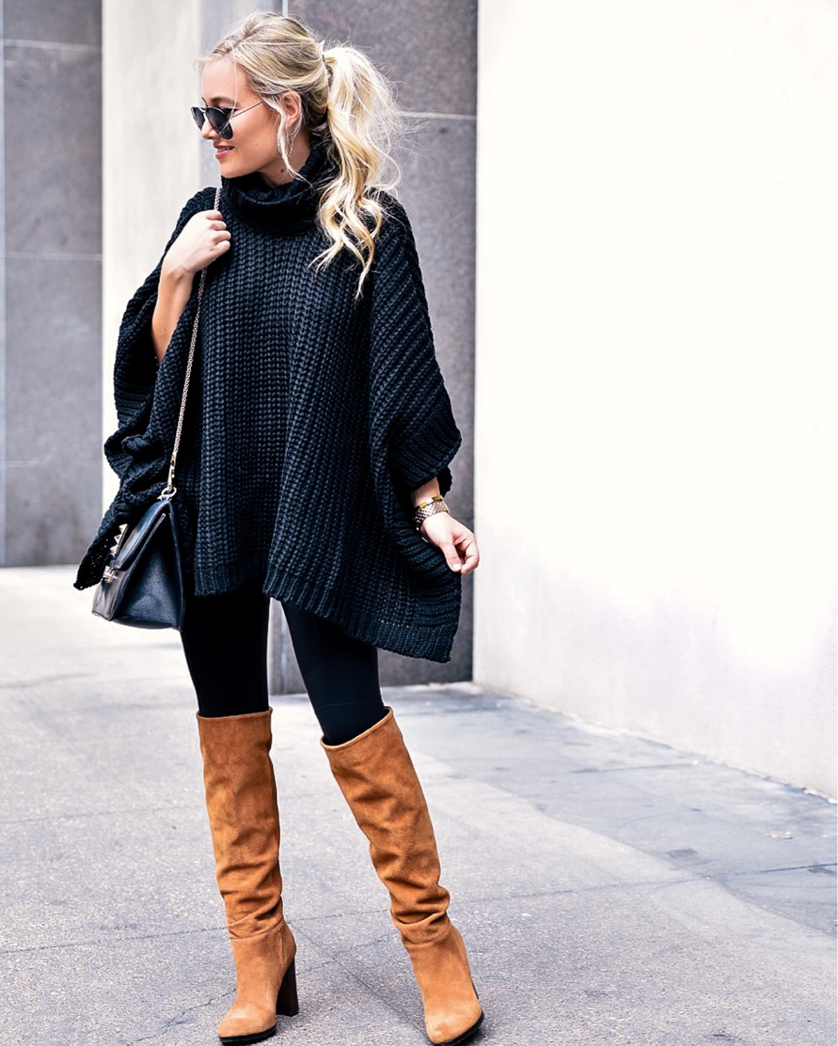 Black sweater, black poncho, nordstrom sweater, styling a sweater, fall outfit inspiration, camel boots, sweaters under $100