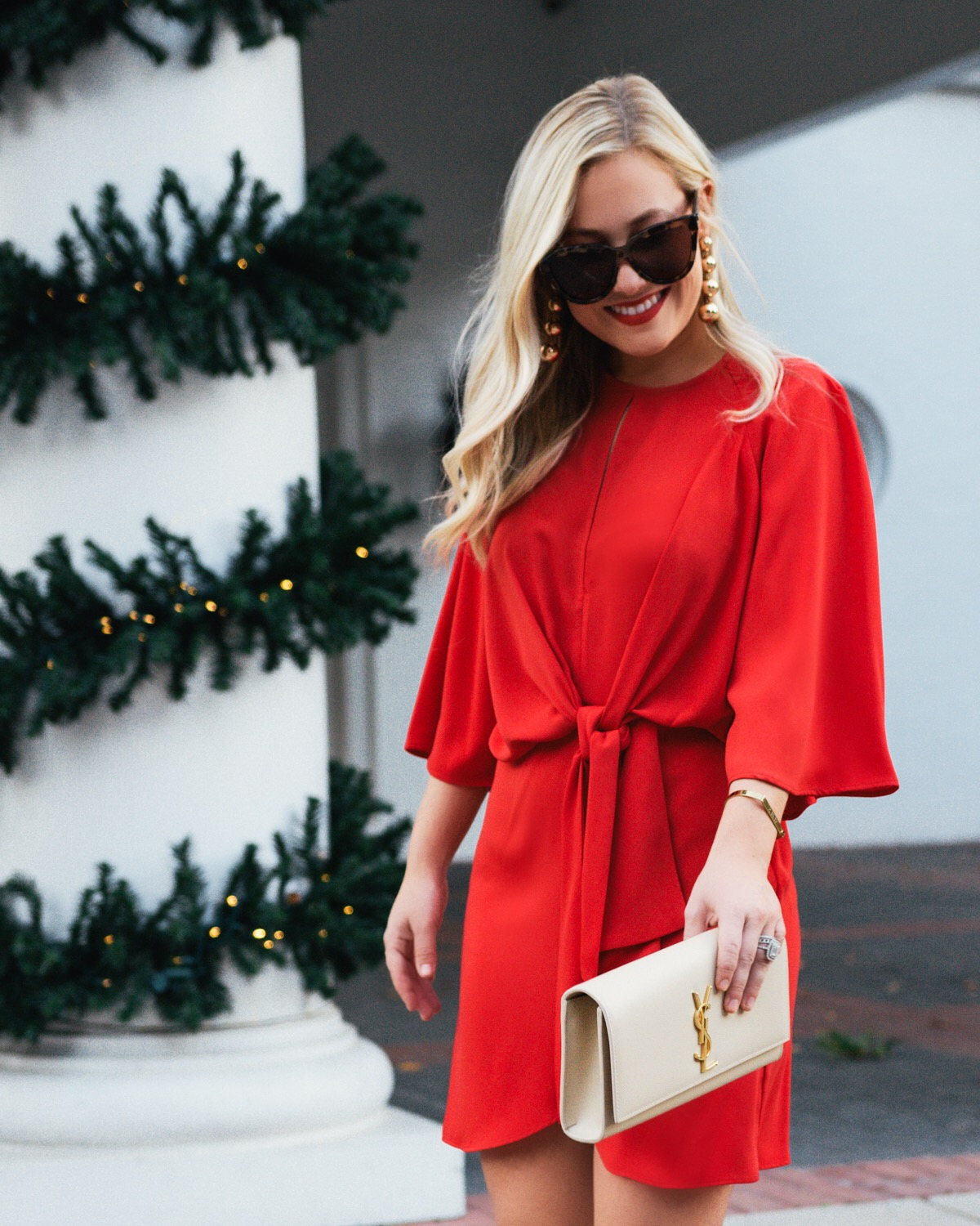 Holiday Dress Under $100, Red Topshop Dress, Nordstrom Topshop, Holiday Dress, Red Dress, YSL Clutch, Saint Laurent Handbag, Valentino Rockstuds, Nude Valentino Rockstuds