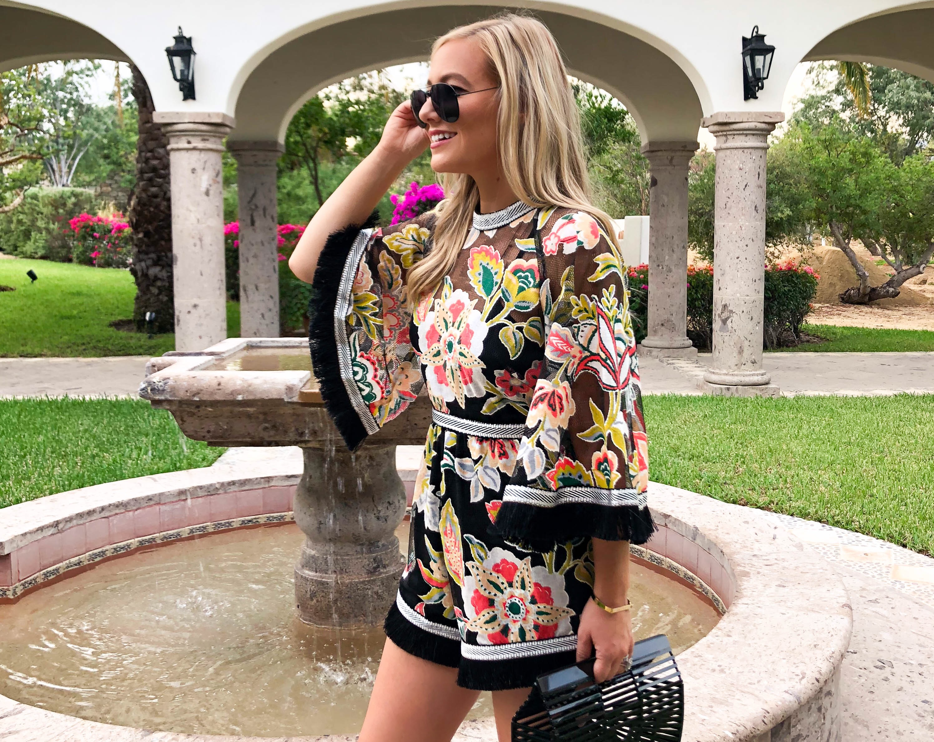 Alice McCall Romper, Colorful Romper, Shopbop Romper, Cult Gaia Bag, Cult Gaia Arc Bag, Ray Ban Sunglasses, Mexico, Travel Blogger, Printed Romper, Romper with tassels