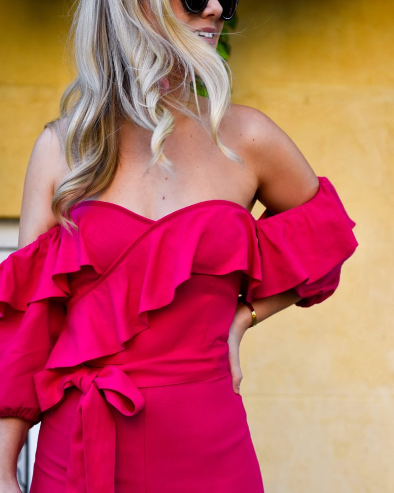 Pink Jumpsuit, Pink Ruffle Dress, Club Monaco Jumpsuit, Jumpsuit with ruffles, mark cross bag, Rebecca deRavenel earrings, pink dress, pink bow heels, LoMurphy, Travel blogger, Charleston, Club Monaco Rakita Linen Jumpsuit