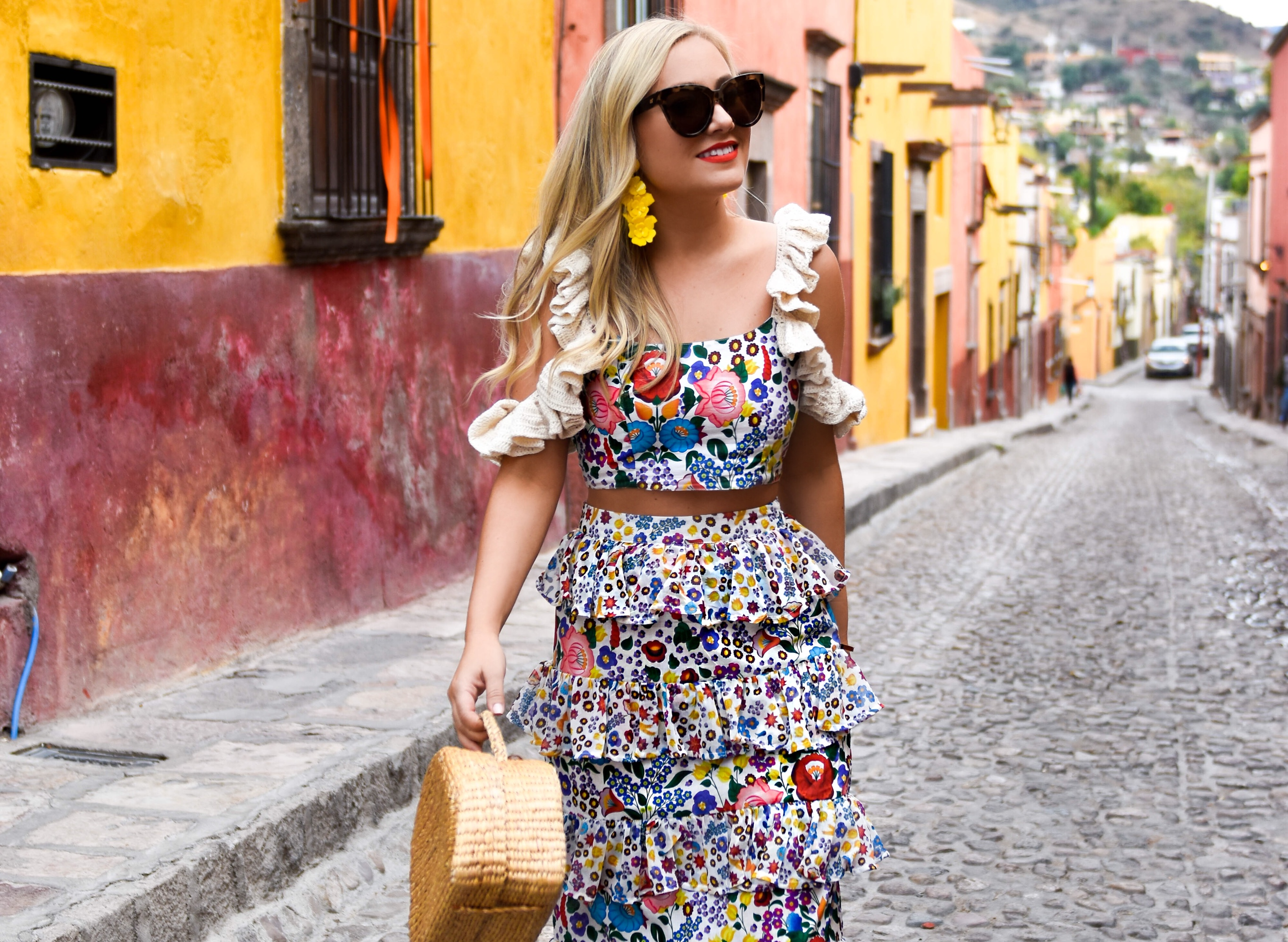 All Things Mochi, Matching Set, Colorful Dress, Mexico, Travel Blogger, Oscar de la Renta Earrings, Le Specs Sunglasses, Printed Dress, Travel Blogger, fashion blogger, Lo Murphy, San Miguel de Allende, All Things Mochi Petra tiered printed cotton-voile maxi skirt, All things Mochi Agotha cropped crochet-trimmed printed cotton top