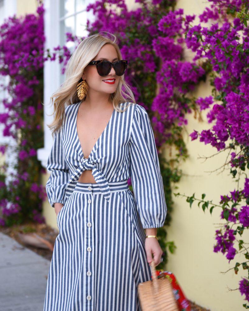 Madewell Dress, Le Specs Sunglasses, Oscar de la Renta earrings, leaf earrings, still stay all day lipstick, woven bag, Soludos Sandals, Palm Beach, Travel Blogger, Lo Murphy, Shopbop Sale