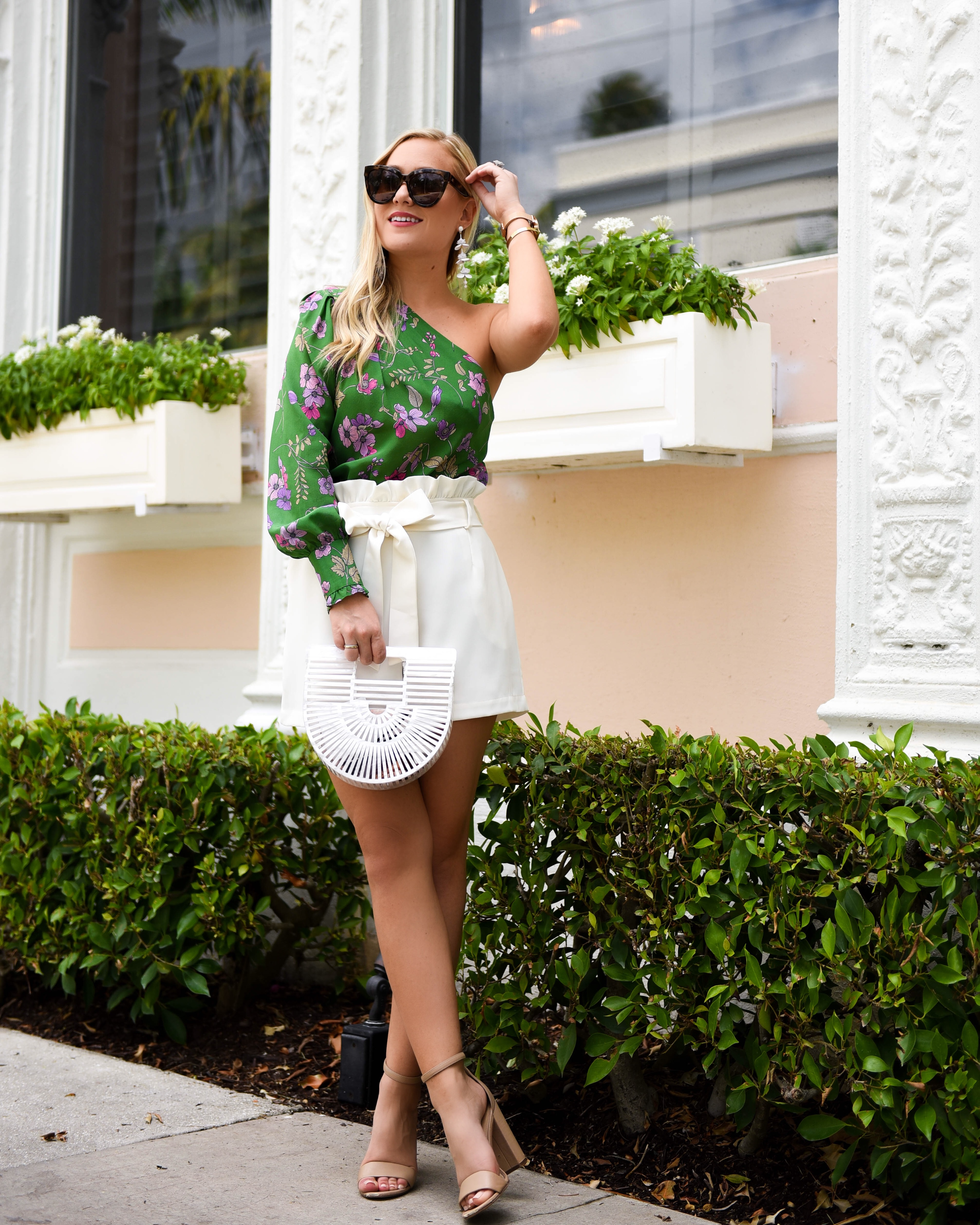 Shoshanna Top, Fossil Watch, Cult Gaia Bag, J Crew Earrings, Nordstrom, Nordstrom Shoes, Nordstrom Sam Edelman, Fossil Watch, Palm Beach, travel blogger