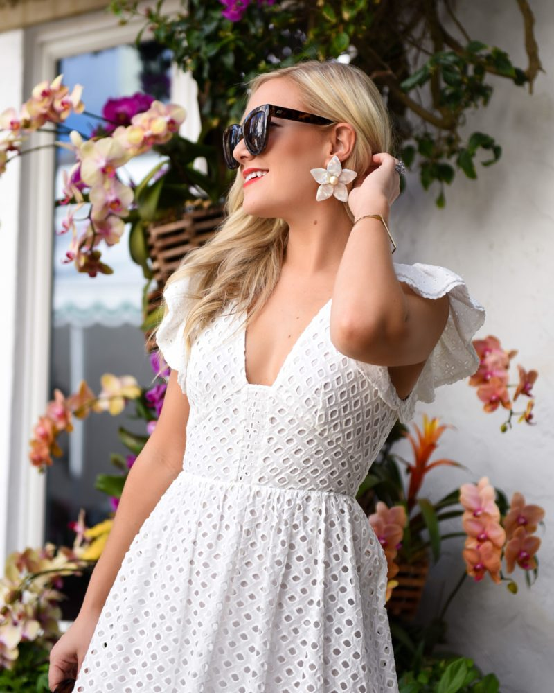 Endless Rose, Eyelet Fit-and-Flare Midi Dress, Bloomingdales, Cult Gaia Bag, BaubleBar Flower Earrings, Schutz Shoes, White Dress under $100, White bridal dresses, Palm Beach, Travel Blogger, Lo Murphy, Bloomindales Dresses