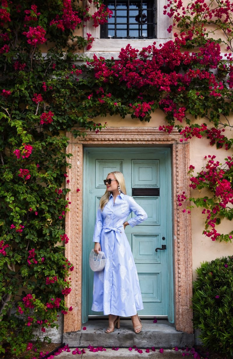 Palm Print Dress, Zara Dress, Blue and White Stripe Dress, Cult Gaia Arc Bag, Palm Beach, Travel Blogger, Lomurphy