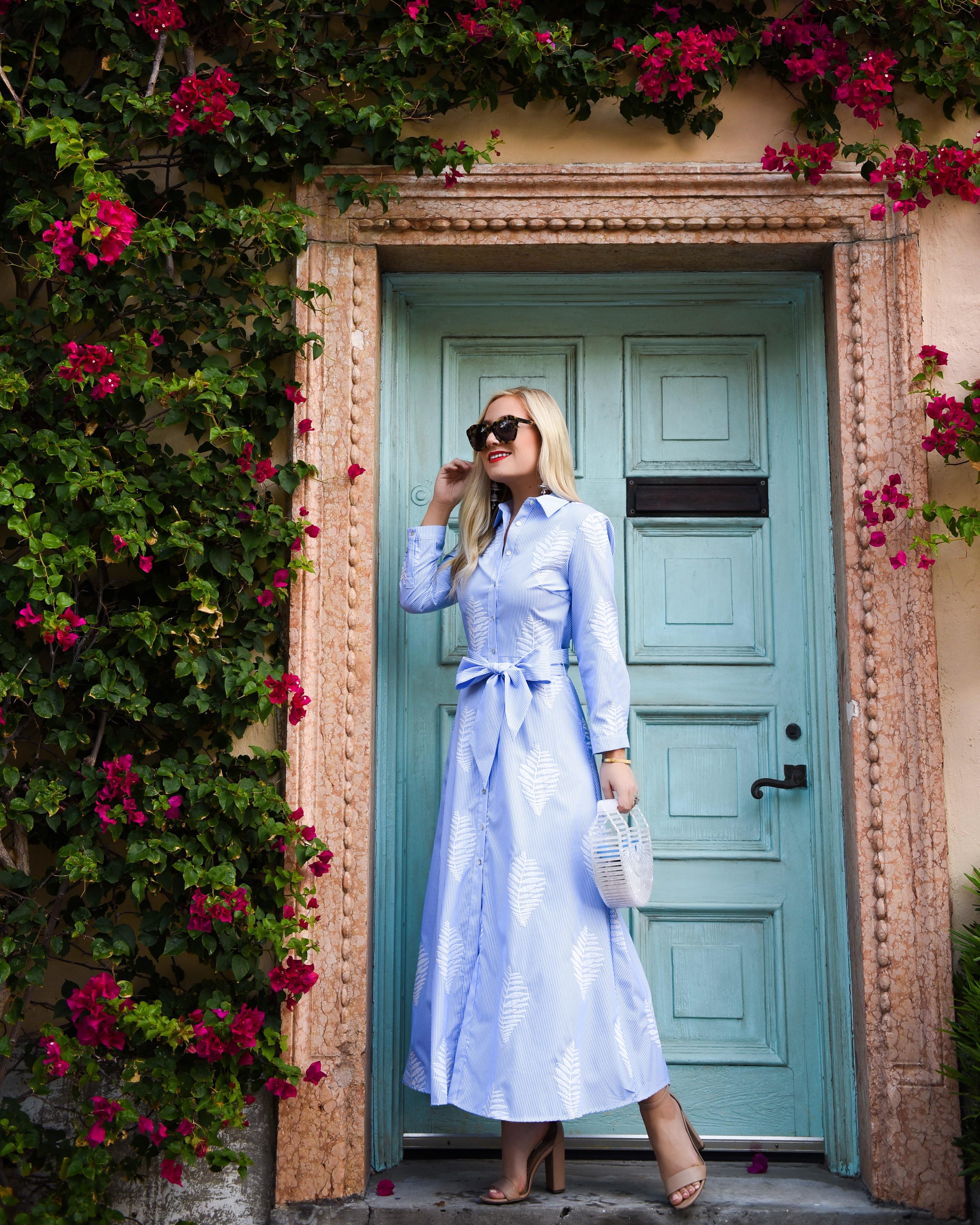 Palm Print Dress, Zara Dress, Blue and White Stripe Dress, Cult Gaia Arc Bag, Palm Beach, Travel Blogger, Lomurphy