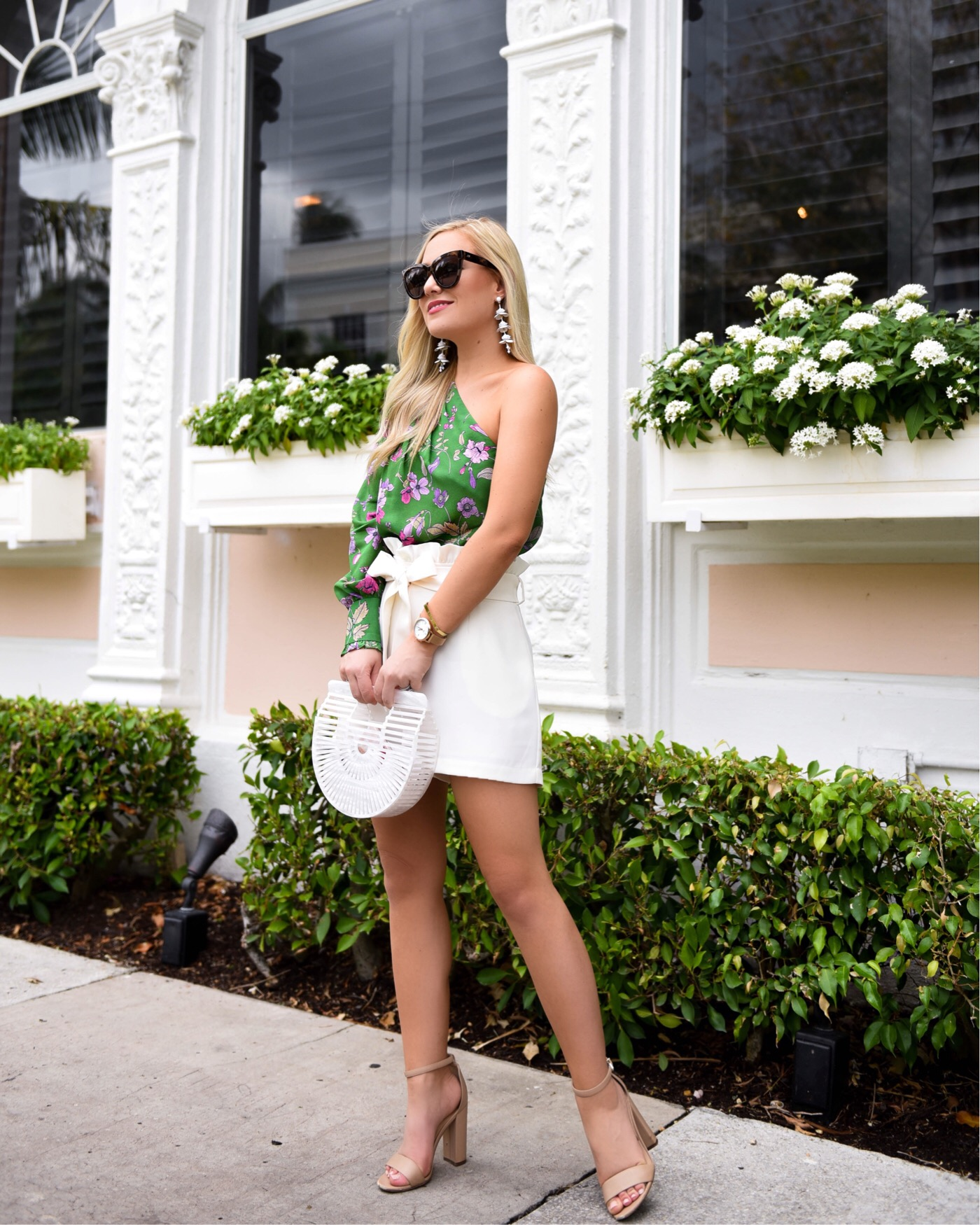 Shoshanna Top, Tie Waist Shorts, Cult Gaia Bag, Sam Edelman Sandals, Shopbop, Shopbop Sale