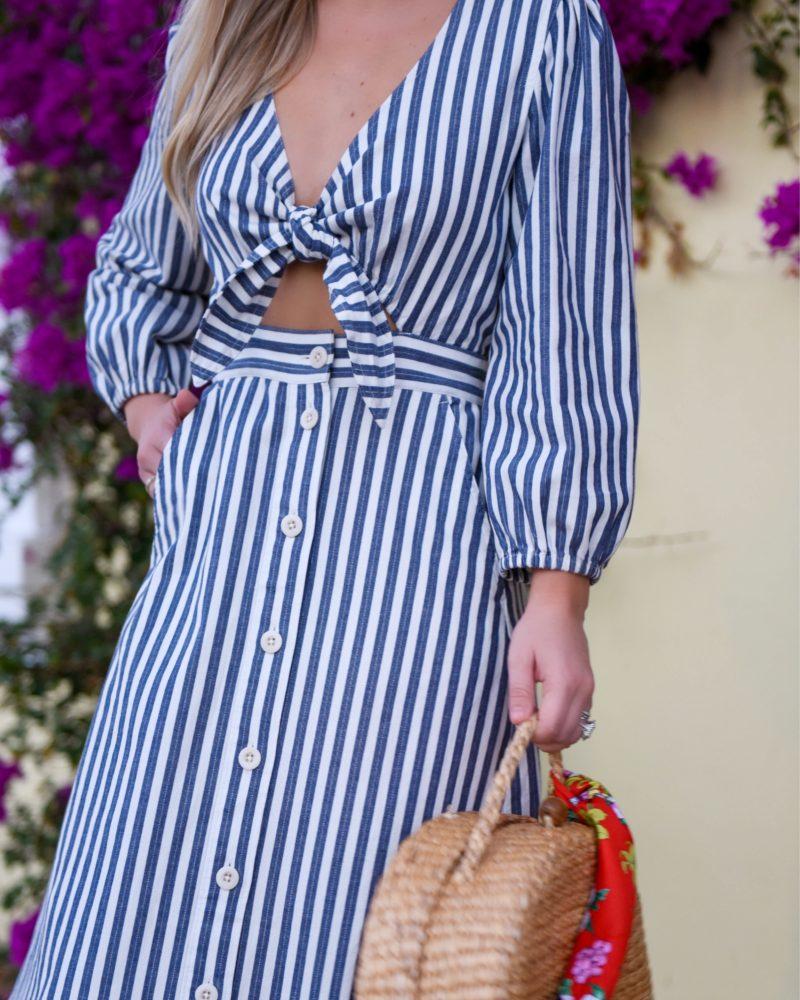 Madewell Dress, Le Specs Sunglasses, Oscar de la Renta earrings, leaf earrings, still stay all day lipstick, woven bag, Soludos Sandals, Palm Beach, Travel Blogger, Lo Murphy