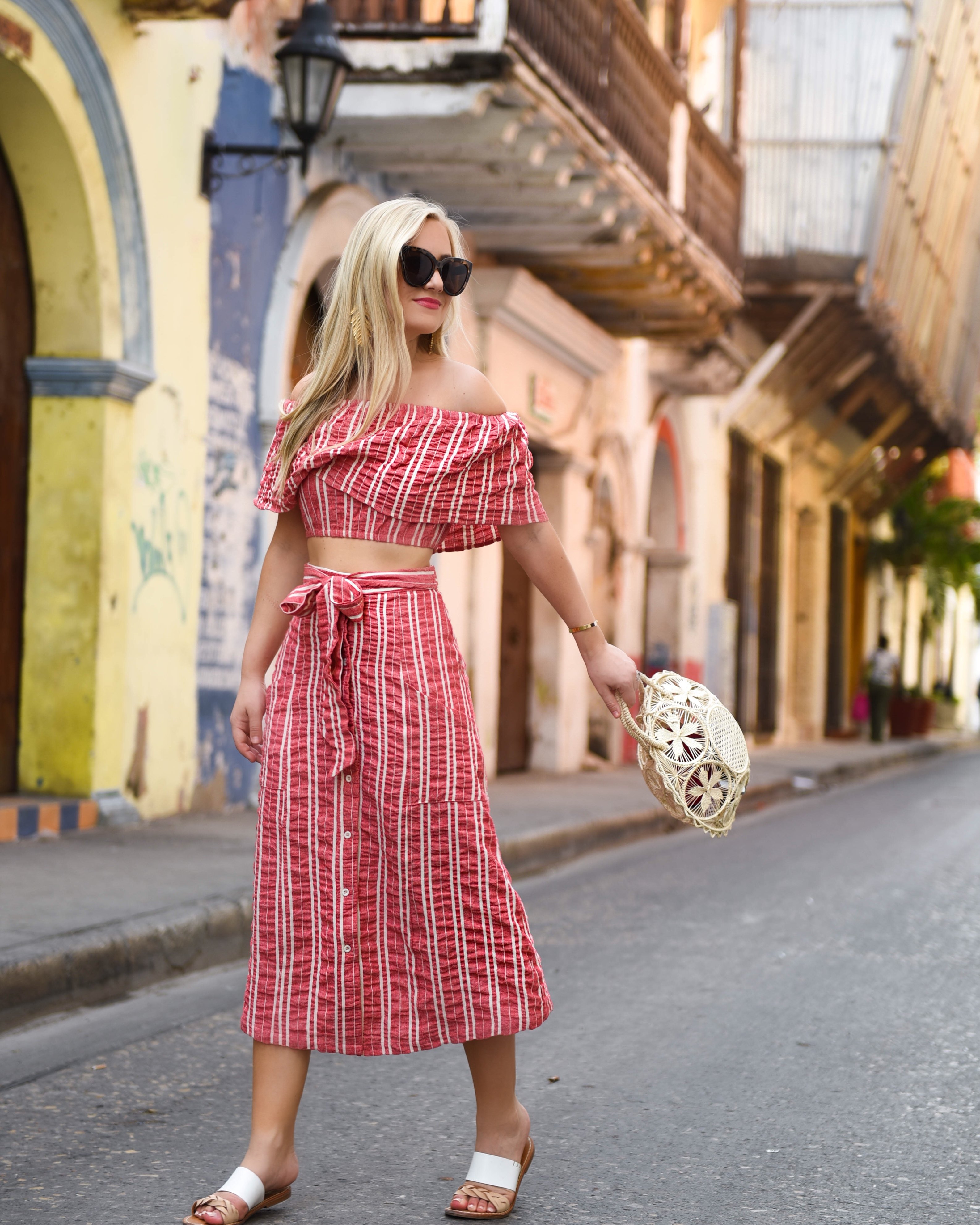 Matching Set, Matching set under 100, Nordstrom, Nordstrom Skirt, Nordstrom top, Lost + Wander, Lost + Wander set, Anthropologie, Anthropologie bag, Cartagena, red and white stripe, red and white stripe dress, Nordstrom Women's