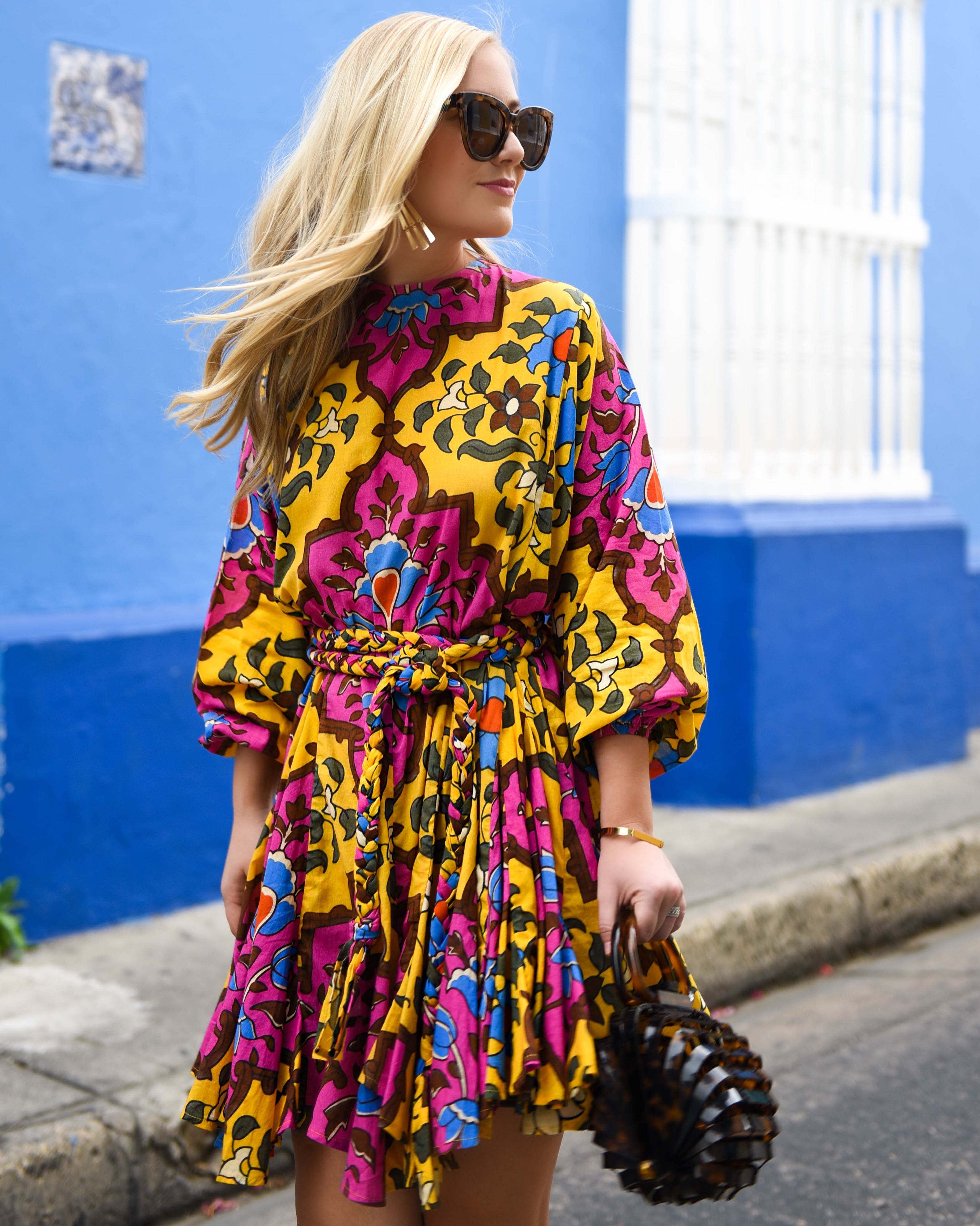 Ella belted printed cotton mini dress, Rhode Resort Dress, Net-A-Porter Dress, cult Gaia Bag, Colorful Dress, Lo Murphy, Travel Blogger, Cartagena, Dallas Blogger, Schutz Shoes, Yellow Sandals