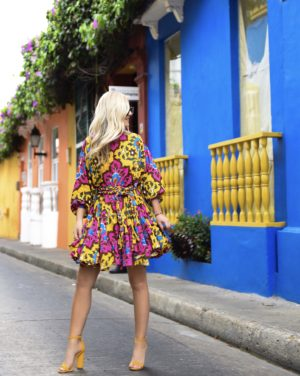 Ella belted printed cotton mini dress, Rhode Resort Dress, Net-A-Porter Dress, cult Gaia Bag, Colorful Dress, Lo Murphy, Travel Blogger, Cartagena, Dallas Blogger, Schutz Shoes, Yellow Sandals