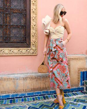 Johanna Ortiz Ruffle Top, Schutz Shoes, Print Mixing, Summer Style