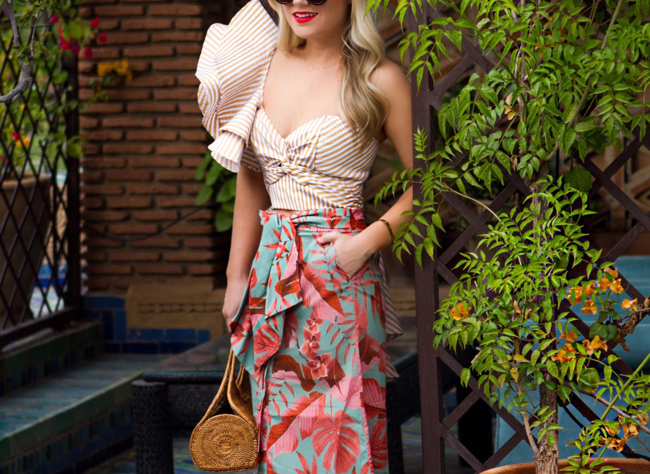 Lo-Murphy-Johanna-Ortiz-Ruffle-Top-printed-midi-skirt-schutz-shoes-marrakech-vacation-style-ruffles