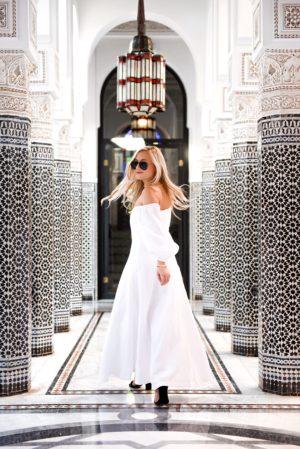 Marrakech-La-Momounia-Lo-Murphy-Mara-Hoffman-Dress-Button-Front-Dress-Travel-Blogger-White-Dress-photography