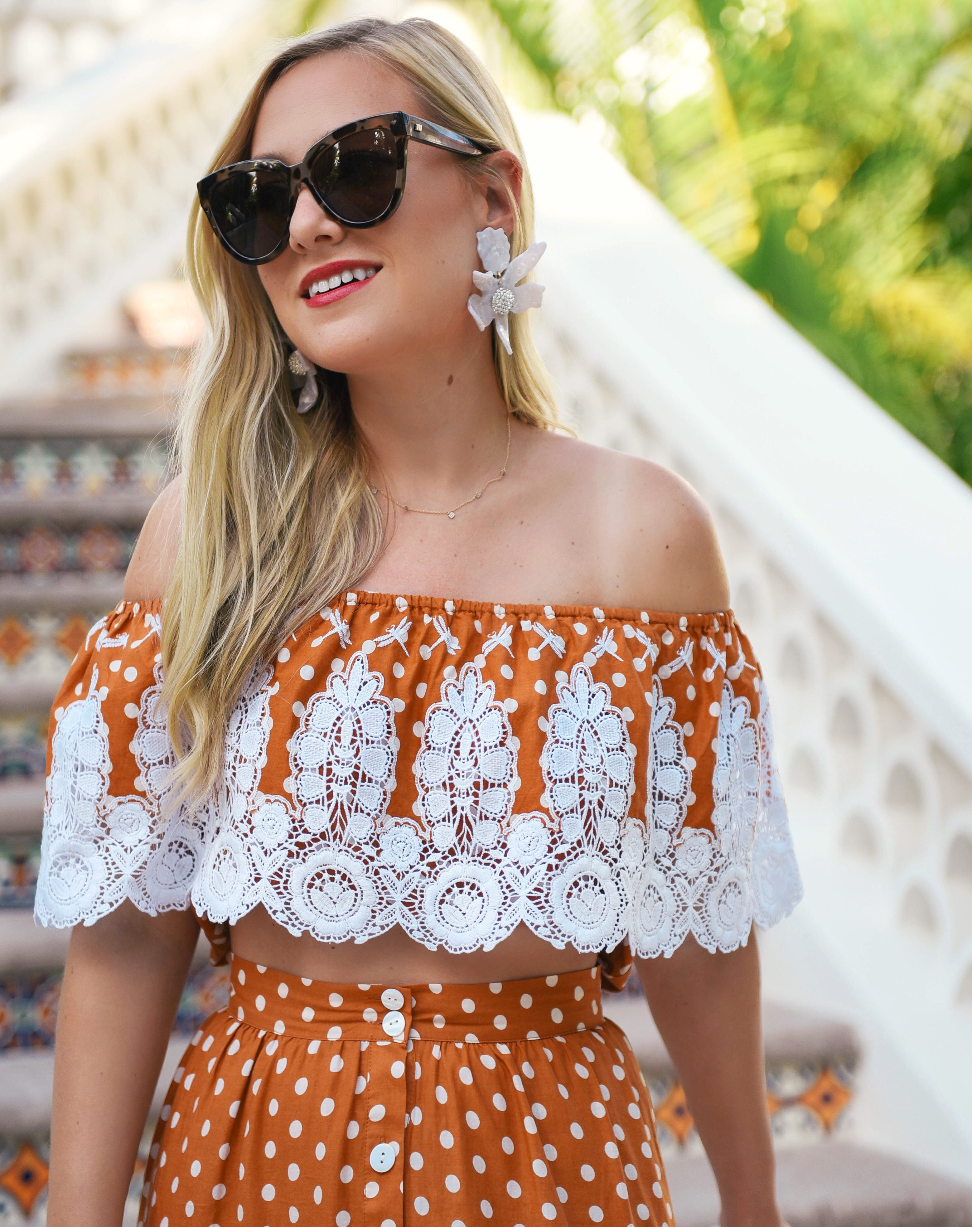 Miguelina-Shopbop-Matching-Set-Lo-Murphy-Miguelina-Orange-Set-Lace-Dress-travel-blogger
