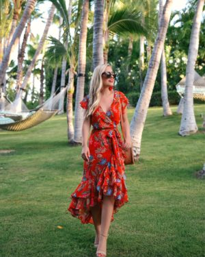 WAYF-Floral-Dress-Lo-Murphy-Red-Dress-Under-100-Woven-Bag-Kendra-Scott-Earrings