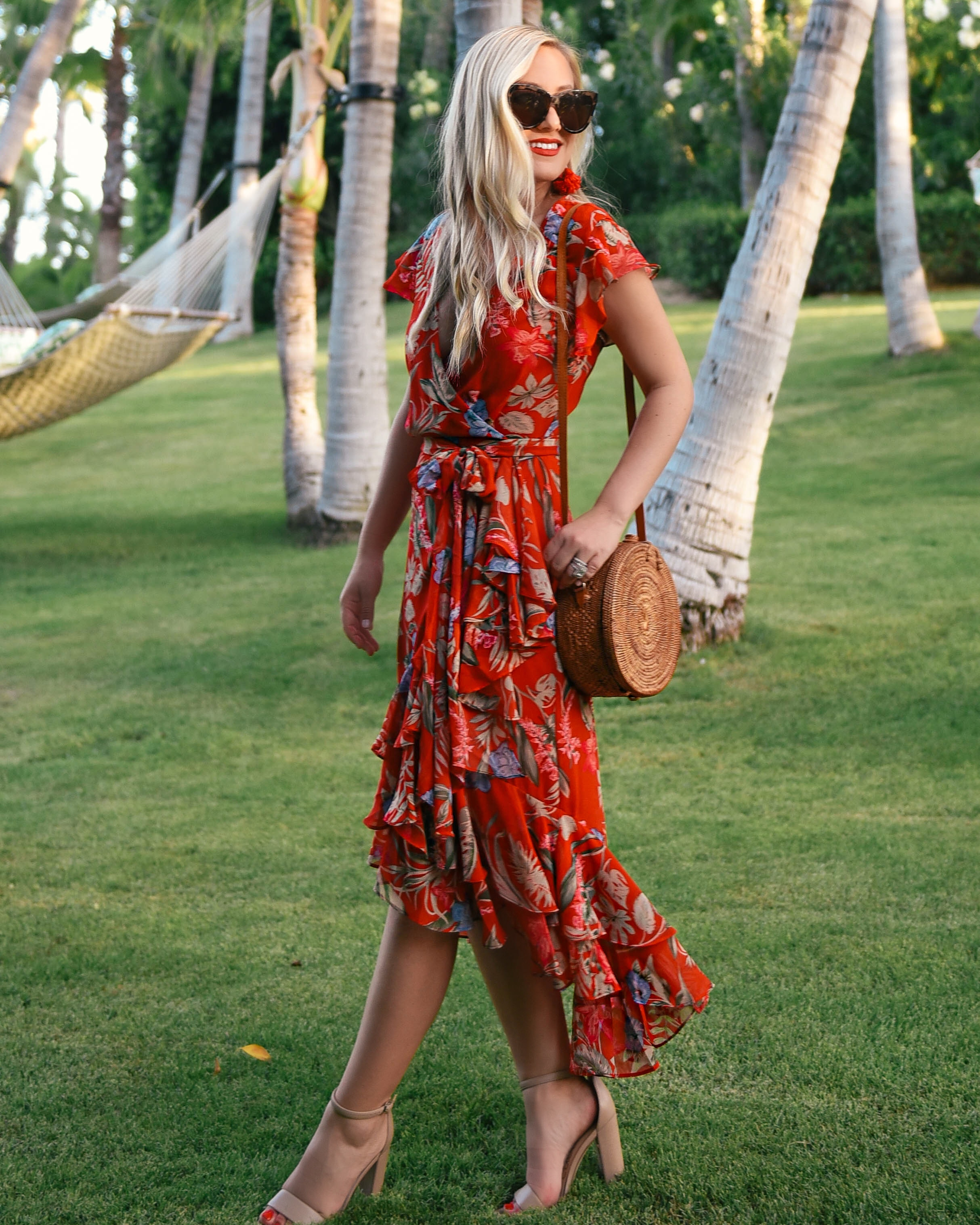 WAYF-Floral-Dress-Lo-Murphy-Woven-Bag-Kendra-Scott-Earrings-Red-Dress-Under-100