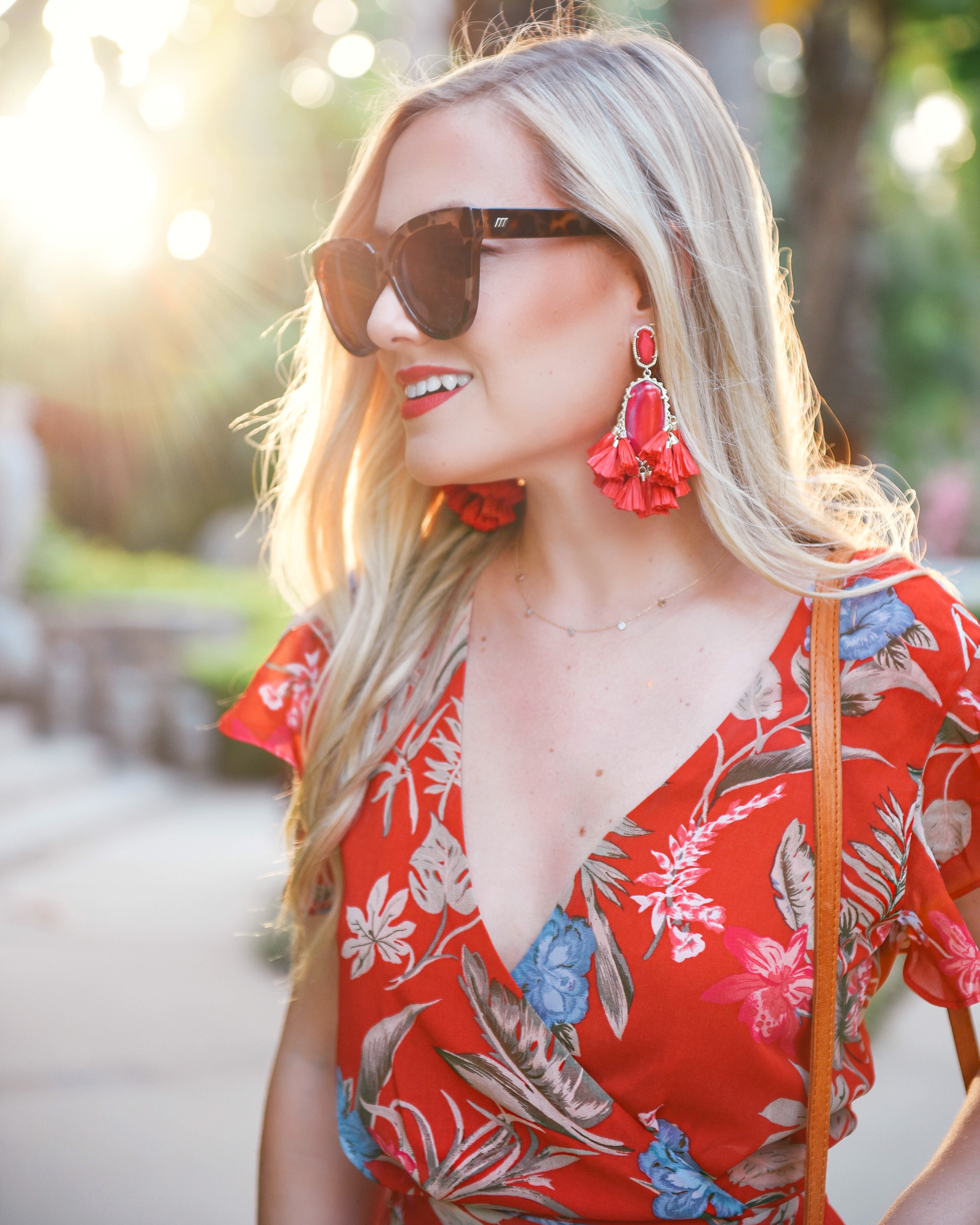 WAYF-Floral-Dress-Woven-Bag-Kendra-Scott-Earrings-Red-Dress-Under-100-Lo-Murphy