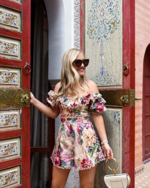 Blonde-Woman-Wearing-Zimmermann-Melody-Off-Shoulder-Crop-Top-Melody-High-Waist-Shorts-Chloe-Handbag-Lo-Murphy