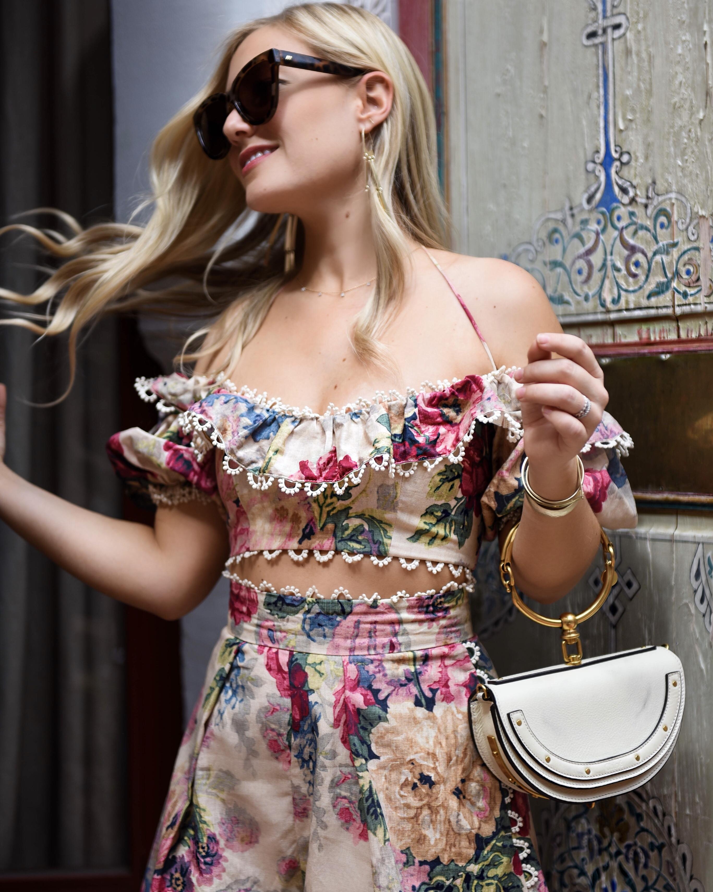 37fb16801adf1d Blonde-Woman-Wearing-Zimmermann-Melody-Off-Shoulder-Crop-Top-Melody -High-Waist-Shorts-Chloe-Handbag-Matching-Set-Lo-Murphy-Travel-Blogger