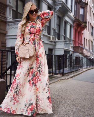 Thanksgiving-Outfit-Ideas-Floral-Dress-Zimmermann-Dress-Fall-Florals-Lo-Murphy-Chanel-Handbag