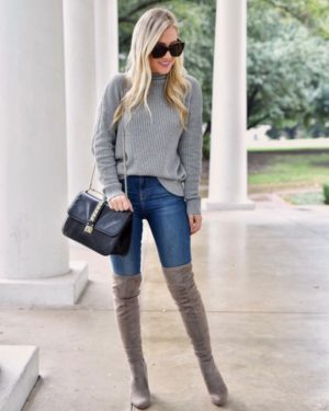 Thanksgiving-Outfit-Ideas-Lo-Murphy-Over-The-Knee-Boots-Grey-Sweater-Jeans-Casual-Fall-Outfit