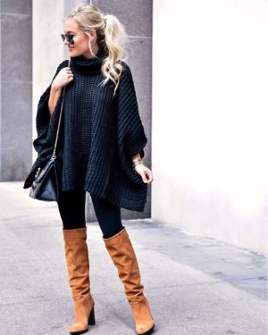 Thanksgiving-Outfit-Ideas-Lo-Murphy-Over-the-knee-boots-poncho-nordstrom