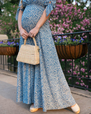 Lo-Murphy-Gal-Meets-Glam-Dress-Aurora-Dress-Floral-Wedges-basket-bag-bump-style-pregnancy-style-dallas-blogger-soludos-wedges-zara