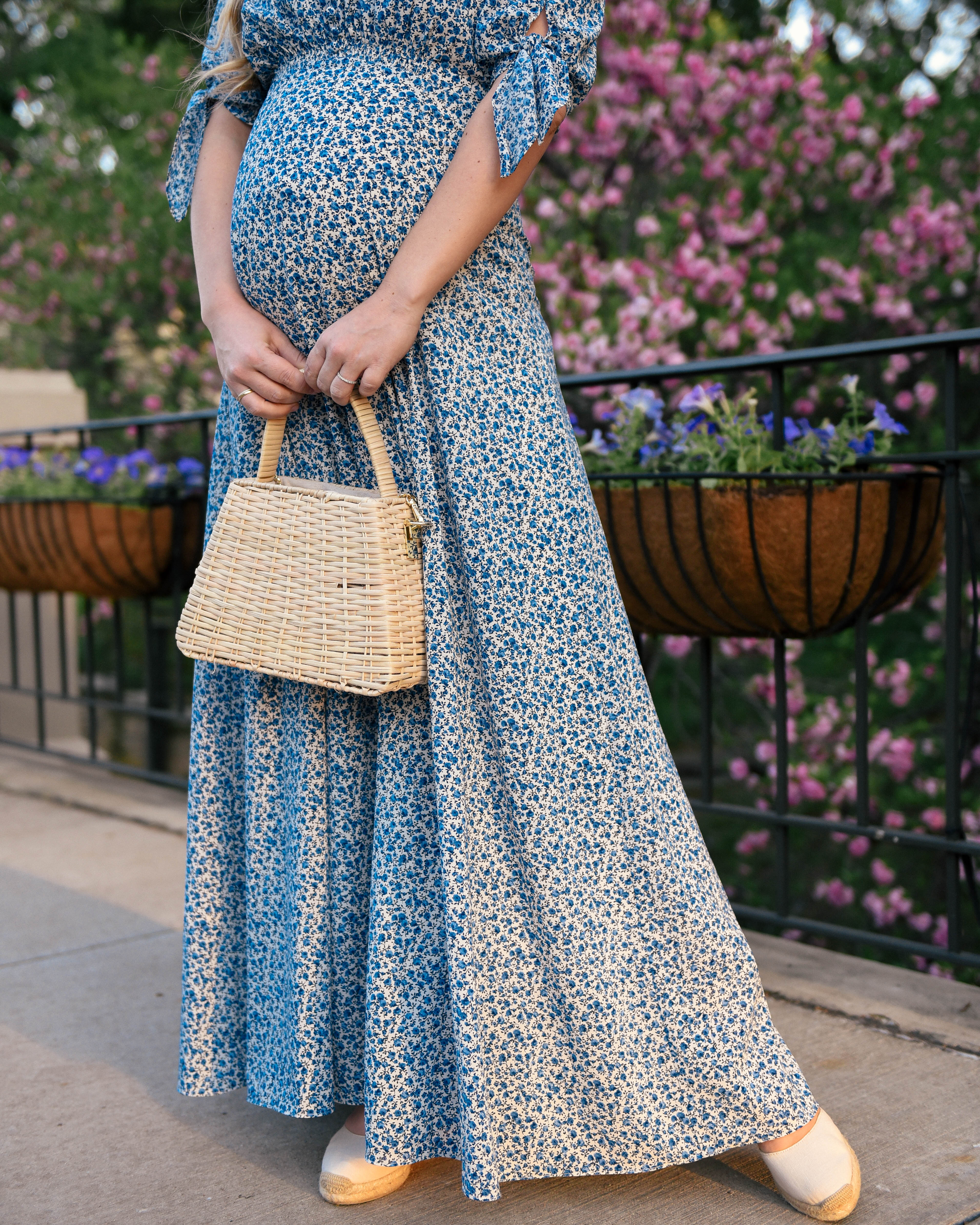 Lo-Murphy-Gal-Meets-Glam-Dress-Aurora-Dress-Floral-Wedges-basket-bag-bump-style-pregnancy-style-dallas-blogger-soludos-wedges-zara