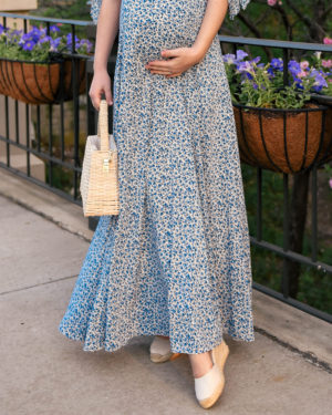Lo-Murphy-Gal-Meets-Glam-Dress-Aurora-Dress-Floral-Wedges-woven-bag-bump-style-pregnancy-style-dallas-blogger-rebecca-de-ravenel-earrings-flower-earring