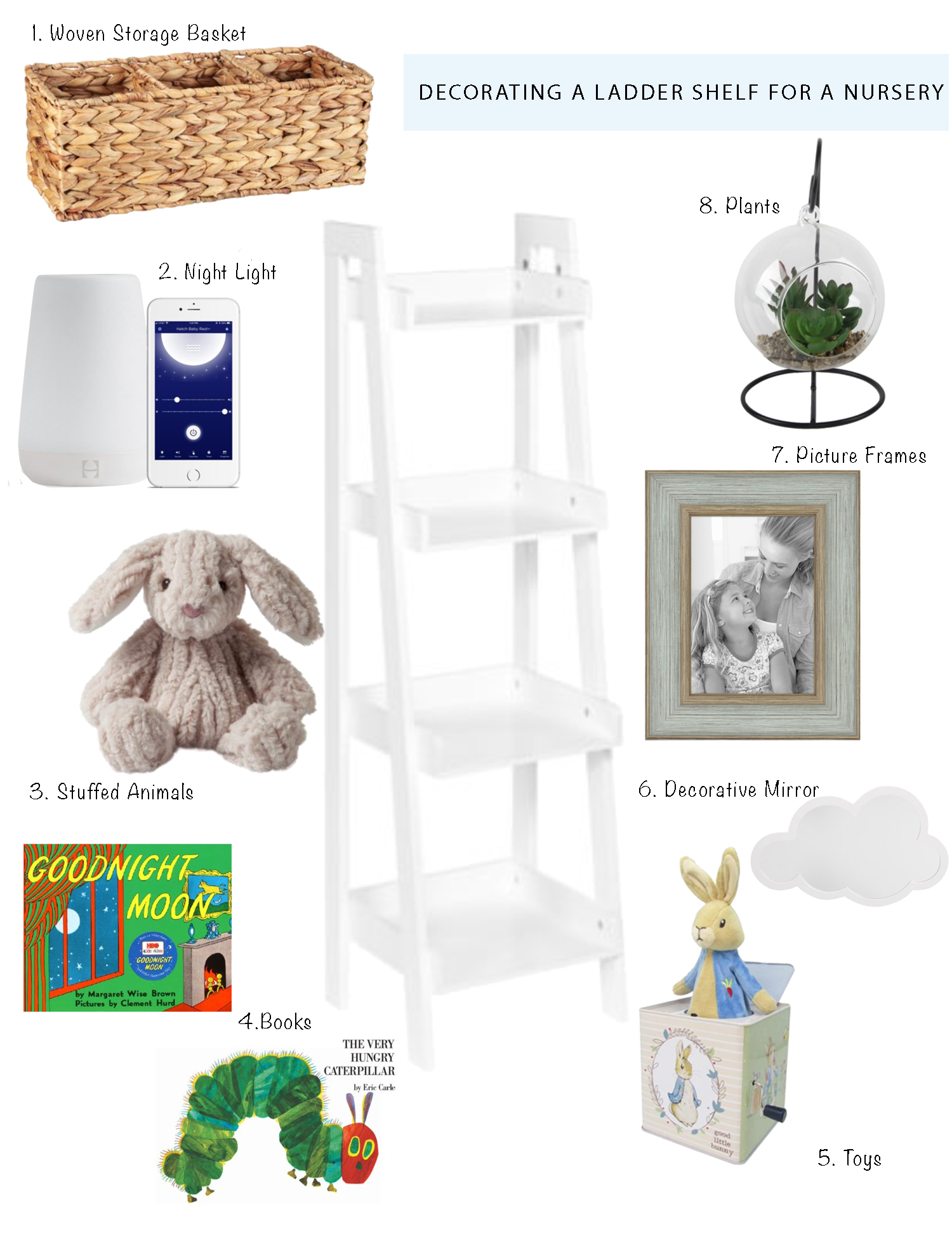 Decorating A Ladder Shelf For A Nursery