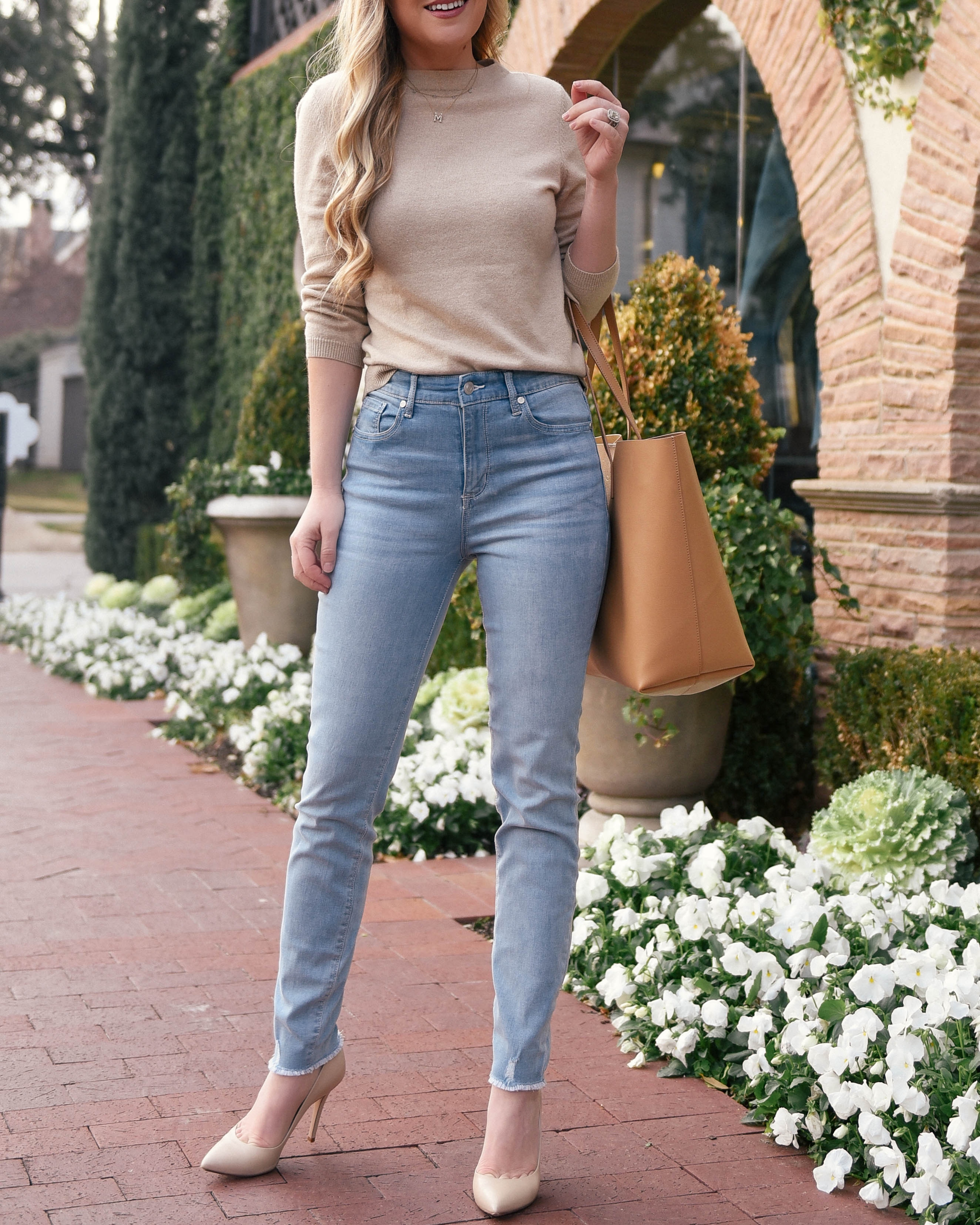 Lo-Murphy-Dallas-Blogger-Sofia-Jeans-Camel-Sweater-Jeans-Under-30-light-wash-jeans