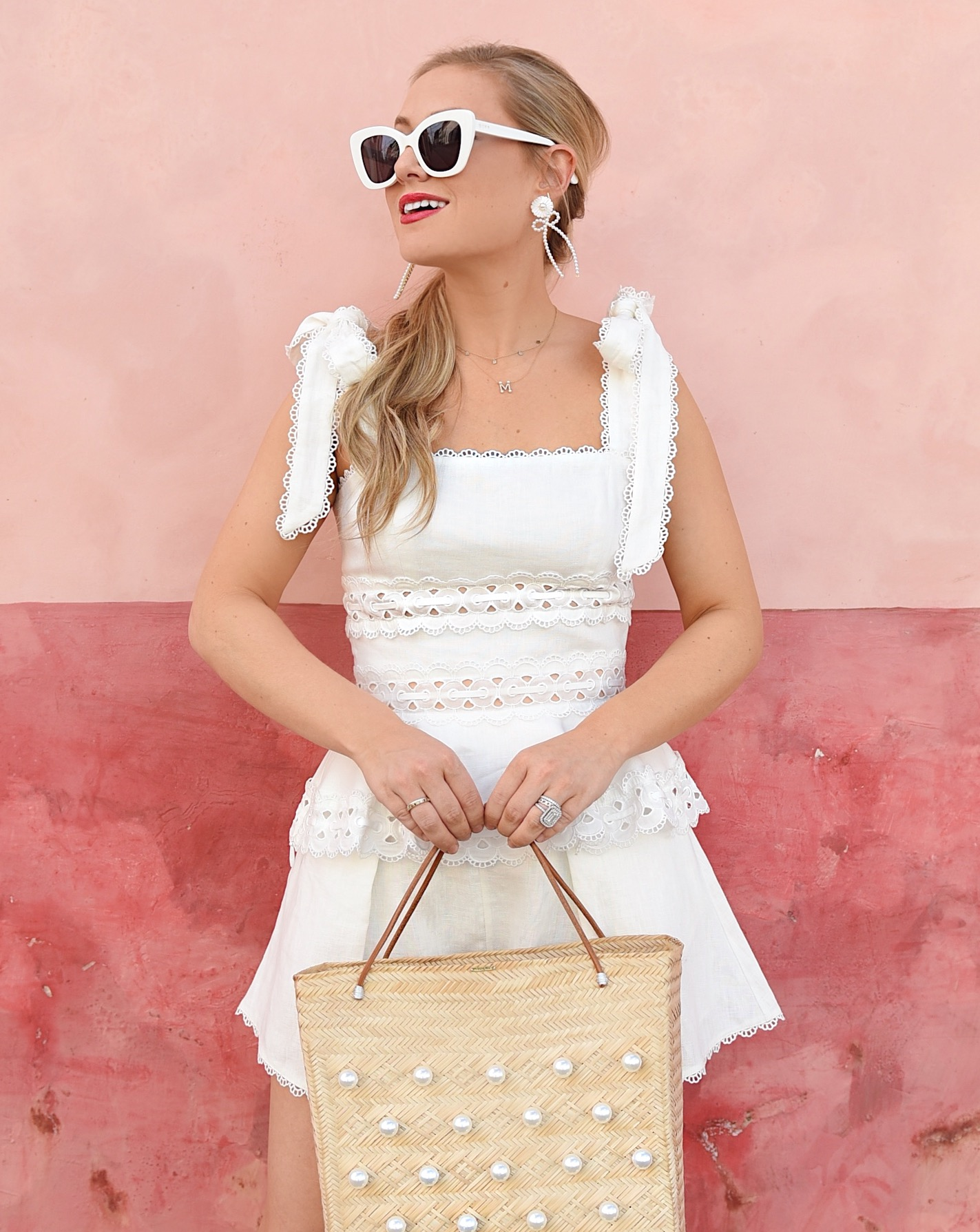 Lo-Murphy-Zimmermann-Kirra-Tie-Shoulder-Cropped-Top-Lace-Trim-Short-White-Matching-set-travel-style-dallas-blogger-mercedes-salazar